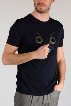 T-shirt FACES STRASS in Jersey di Cotone