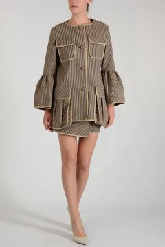 Cotton Striped Suit with Wrap Skirt