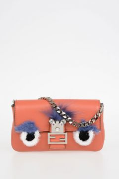 Leather Mini Pochette with Real Fur & Crystal