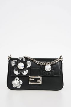 Leather Mini Pochette with Crystal