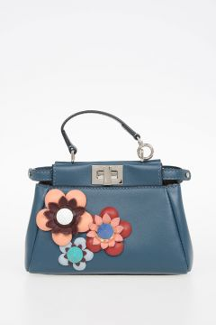 Leather Mini Pochette with Flower