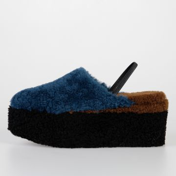 8 cm Lamb Fur Wedge Sandals
