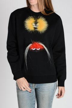 Cotton Blend CREATURES Sweatshirt With Real Fur