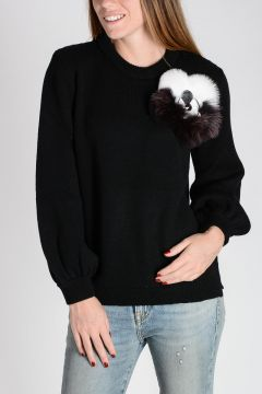 Cashmere Sweater with Real fur Details