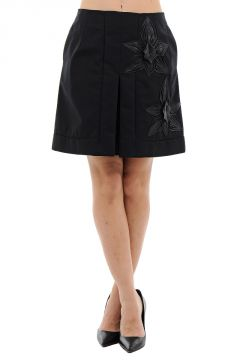 Cotton a-line Skirt With Leather Details