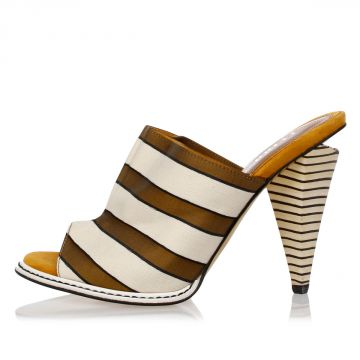 Leather Fabric Striped Sandals