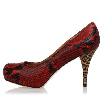 Leather Python Printed Decollette 9 cm