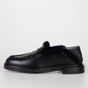 Leather Loafers with Lamb Fur Lining