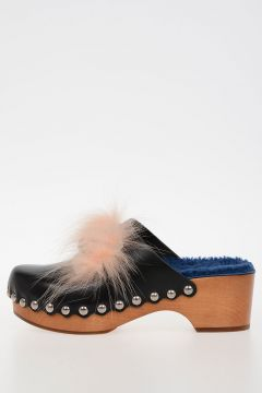Real Fur Wood Leather Wedge Clog