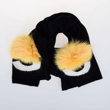 190 x 38 cm Wool Scarf with Fox Fur