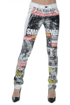 Denim Stretch DEAN WHITE Printed Jeans 15 CM
