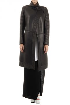 Cappotto Lungo Trench in Pelle