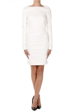 STRETCH MINI SLASH NECK DRESS Natural