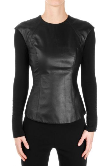 Leather TAILORED Long Sleeve top