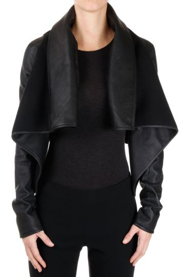 Virgin Wool and Lamb Leather RAGLAN WRAP Jacket