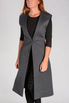 Cappotto TAILORING SLEEVELESS COAT in Cotone e Lana