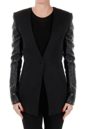Virgin Wool Blend and Leather TAILORING Jacket