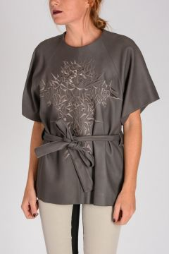 T-shirt in Pelle EMBROIDERED T TOP