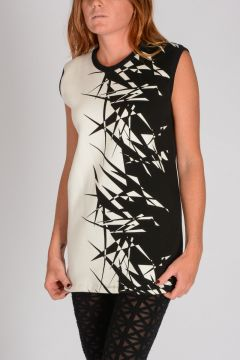 T-shirt in Cotone OVERSIZE TOP FRACTURED PRINT