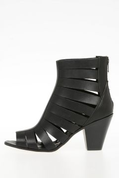 Leather  CAGE CUBAN HEEL boots