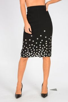 Embroidered Pencil Skirt with Buttons