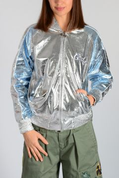 Embroidered Silver Tone Fabric Jacket