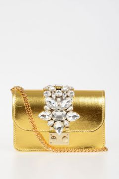 Leather Mini Bag With Strass