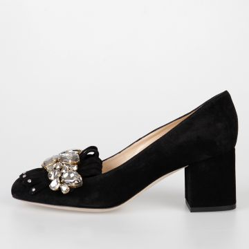 6 cm Suede FANNY Pumps with Crystals