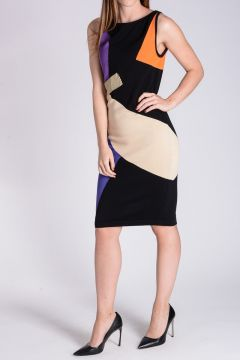 Geometric Intarsia Knitted Pencil Dress