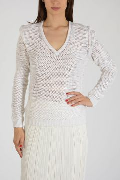 Linen Blend Crochet Sweater