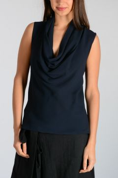 Silk Top with Knitted Fabric Back