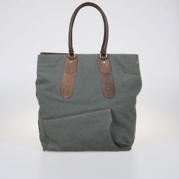 Leather and Canvas Shopper Bag