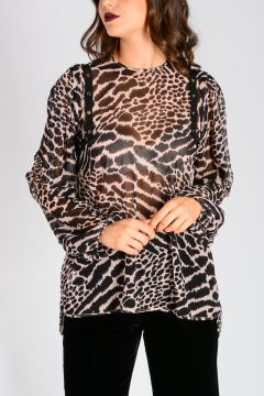 Leo Printed top With Long sleeves