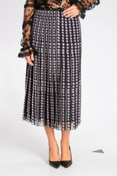 Pleated Floral Silk Skirt