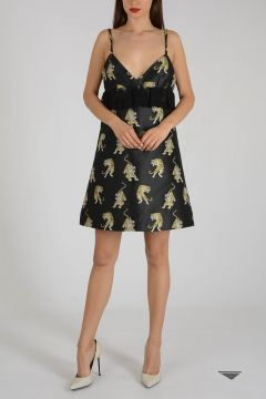 Embroidered Tiger Dress with Lace Details