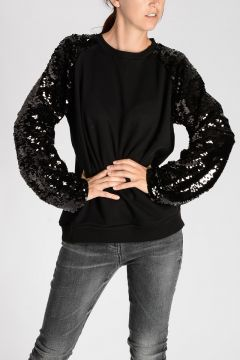 Sequins Embroidered Sleeves Sweatshirt