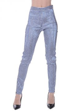 Striped Shiny Fabric Pants