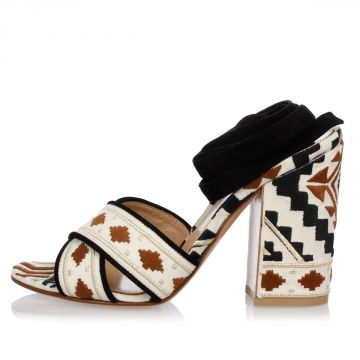 Leather and Embroidery Fabric Sandals