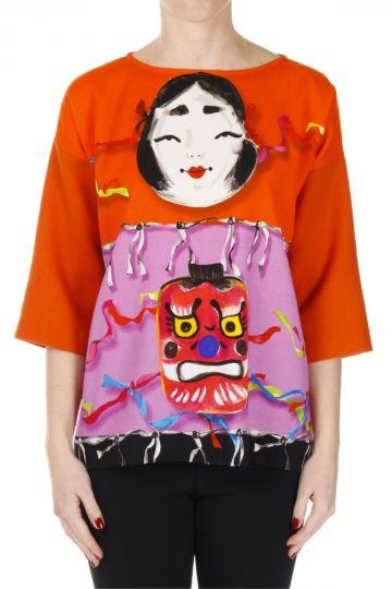 T-shirt in Misto Lana Stampata MASCHERE