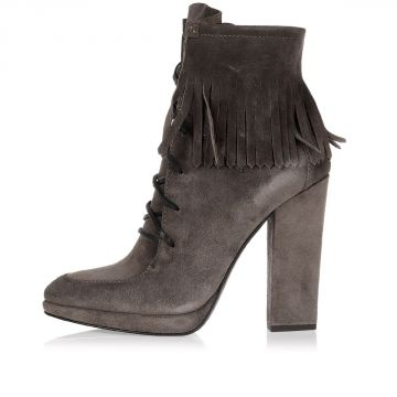 Leather SENSORY Boots with fringes 12 cm