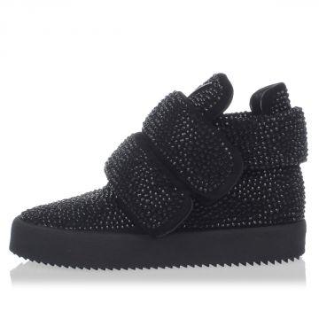 Sneakers alte in Pelle con strass