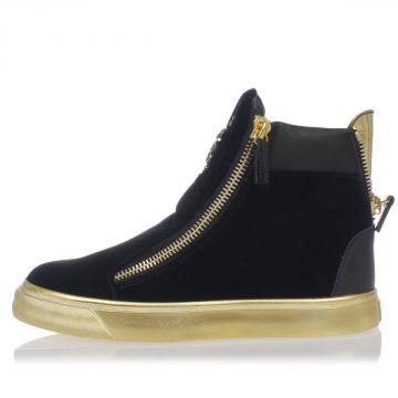 Sneakers VERONICA in Pelle e Velluto con dettagli Oro