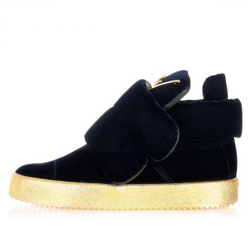 Leather and velvet VERONICA sneakers with gold Details