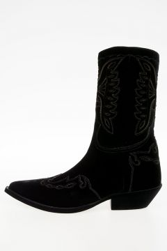COWBOY Embroidered Velvet Ankle Boots