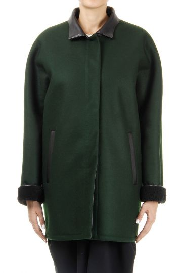 Sheepfur and virgin wool Coat with leather details