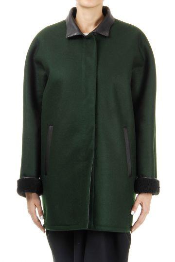 Cappotto in Montone e lana vergine rifiniture in pelle