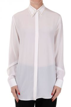 Silk Shirt with Studs on the Collar