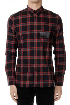 Checked Cotton Shirt with Leather Application