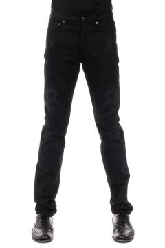 Jeans in Denim Nero con Stampa 17 cm