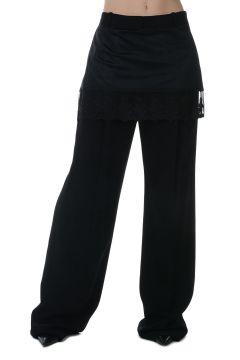 Pantalone Stretch con Dettagli in Pizzo